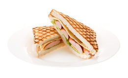 Sausage grilled cheese sandwich on a plate. Isolated on white ba Royalty Free Stock Image
