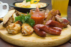 Sausage and grilled meat Royalty Free Stock Photo