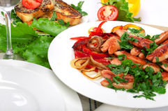 Sausage with grilled vegetables Stock Photo