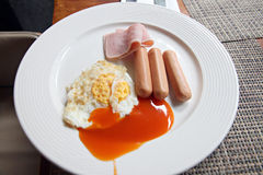 Sausage, ham, egg in white dish. Royalty Free Stock Photography