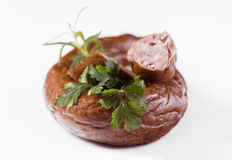 Sausage with herbs - closeup Royalty Free Stock Photos
