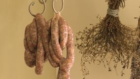 Sausage and Herbs On Hooks