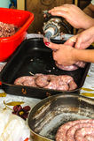 Sausage home making process Royalty Free Stock Photos