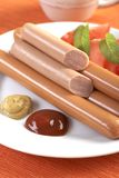Sausage on hot dog Royalty Free Stock Photos