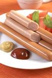 Sausage on hot dog Royalty Free Stock Photos