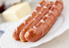 Sausage hot dog food at plate Stock Images
