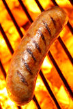 Sausage Hot Dog On A Fire Hot Barbecue Grill Stock Image