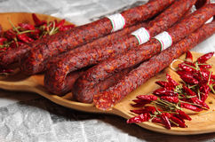 Sausage and hungarian red paprika Royalty Free Stock Photography