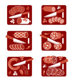 Sausage icon set. Set of flat vector icons of  sausage and knife Royalty Free Stock Images
