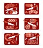 Sausage icon set Royalty Free Stock Images