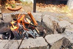 Sausage In Fire Stock Photography