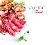 Ham, Salami and Bacon. Sausage. Italian Ham, Salami and Bacon isolated on White stock images