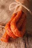 Sausage or kabanos macro on vintage wooden boards Stock Photo