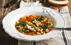 Sausage and kale soup Royalty Free Stock Image