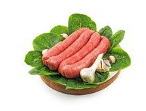 Sausage kebab. With garlic on wooden tray Royalty Free Stock Image