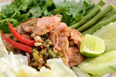 Sausage Larb on white dish Royalty Free Stock Photography