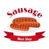 Sausage logo, label for menu, restaurants, shops, barbecue. Flat style. Meat logo, label for menu, restaurants, butchery shops. Fresh sausages for barbecue Royalty Free Stock Photography