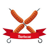 Sausage logo, label for menu, restaurants, shops, barbecue. Flat style. Stock Photo