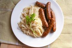 Sausage and macaroni pasta Royalty Free Stock Images
