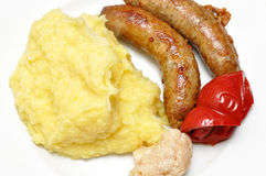 Sausage and mash Royalty Free Stock Photography