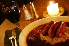 Sausage & mash. Plate of sausages and mashed potato Royalty Free Stock Image