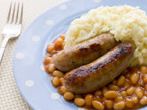 Sausage and Mash with Baked Beans Stock Images