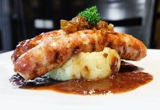 Sausage with mash potato Stock Photo