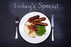 Sausage and mash special Royalty Free Stock Image