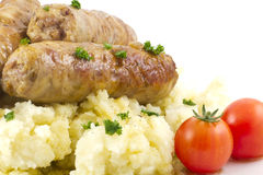 Sausage and Mashed Potaoes Stock Photography