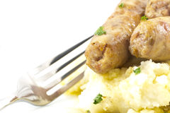 Sausage and Mashed Potaoes Royalty Free Stock Photo
