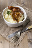 Sausage and mashed potato with onion gravy Royalty Free Stock Image