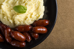 Sausage with mashed potatoes Stock Photo