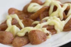 Sausage and mayonnaise Stock Photos