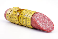 Sausage with a measuring tape Stock Image