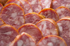 Sausage. Meat  sausage  pork  butcher  variety  salami food  beef  delicious  smoked Royalty Free Stock Images