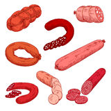 Sausage meat products like wurst or kielbasa. Food made of beef, pork or veal and starch that is grilled or baked. Concept of nutrition with Polish or Stock Photos
