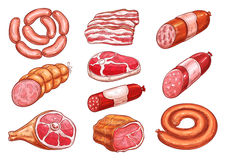Sausage and meat sketch set for food design. Sausage and meat sketch set. Fresh beef steak, pork sausage, ham, salami, bacon slices, gammon, pepperoni and Stock Images