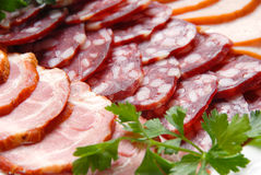 Sausage, meat, verdure Royalty Free Stock Photos