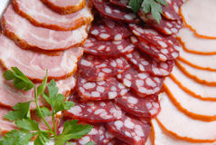Sausage, meat, verdure Royalty Free Stock Image