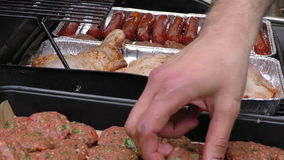 Sausage Meatball and Chicken Barbecue stock video footage