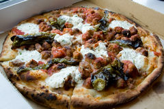 Sausage and meatball pizza with ricotta cheese and hot peppers Royalty Free Stock Photos