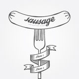 Sausage menu doodle drawn background.Vector vintage Stock Photography
