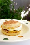 Sausage muffin with egg breakfast Royalty Free Stock Image