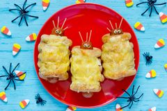 Sausage mummies or sausage aliens for Halloween. Funny snack stock images