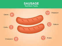 Sausage nutrition facts, sausage with information, sausages vector Royalty Free Stock Photos