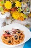 Sausage olive pasta Royalty Free Stock Image
