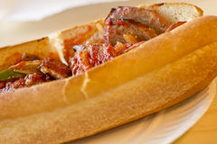 Sausage Onion Pepper Sandwich Royalty Free Stock Images