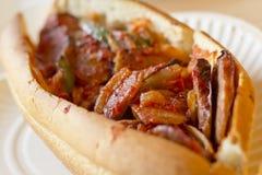 Sausage Onion Pepper Sandwich Stock Photography