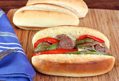 Sausage, Onion and Pepper Sub Sandwich Royalty Free Stock Images