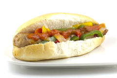 Sausage Onion and Peppers on a Bun Royalty Free Stock Photography